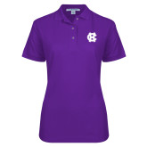 Ladies Easycare Purple Pique Polo-Interlocking HC