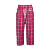 Ladies Dark Fuchsia/White Flannel Pajama Pant-HC Shield