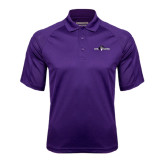 Purple Textured Saddle Shoulder Polo-Official Logo