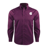 Red House Deep Purple Herringbone Non Iron Long Sleeve Shirt-Interlocking HC