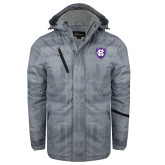 Grey Brushstroke Print Insulated Jacket-HC Shield