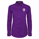 Ladies Purple Twill Button Down Long Sleeve-HC Shield