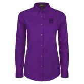 Ladies Purple Twill Button Down Long Sleeve-Interlocking HC