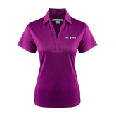 Ladies Purple Performance Fine Jacquard Polo-Official Logo