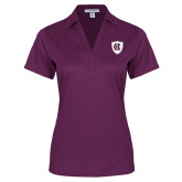 Ladies Purple Performance Fine Jacquard Polo-HC Shield