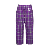 Ladies Purple/White Flannel Pajama Pant-HC Shield