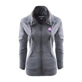 Ladies Sport Wick Stretch Full Zip Charcoal Jacket-HC Shield