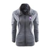 Ladies Sport Wick Stretch Full Zip Charcoal Jacket-HC Shield