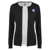 Ladies Black Cardigan-HC Shield