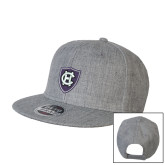 Heather Grey Wool Blend Flat Bill Snapback Hat-HC Shield