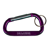 Purple Carabiner with Split Ring-Holy Cross Crusaders Engraved