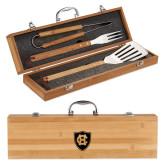 Grill Master 3pc Bamboo BBQ Set-HC Shield Engraved
