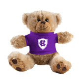 Plush Big Paw 8 1/2 inch Brown Bear w/Purple Shirt-HC Shield