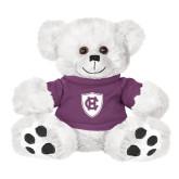 Plush Big Paw 8 1/2 inch White Bear w/Purple Shirt-HC Shield