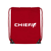 Red Drawstring Backpack-Chief - Primary Logo