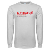 White Long Sleeve T Shirt-Chief Industries - Tag Line