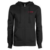 ENZA Ladies Black Fleece Full Zip Hoodie-Chief - Primary Logo