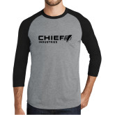 Grey/Black Tri Blend Baseball Raglan-Chief Industries
