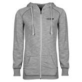 ENZA Ladies Grey/Black Marled Full Zip Hoodie-Chief - Primary Logo