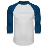 White/Royal Raglan Baseball T Shirt-BonnaVilla