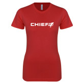 Next Level Ladies SoftStyle Junior Fitted Red Tee-Chief - Primary Logo