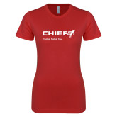 Next Level Ladies SoftStyle Junior Fitted Red Tee-Chief - Primary Mark Tagline