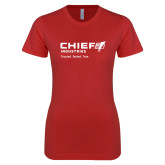 Next Level Ladies SoftStyle Junior Fitted Red Tee-Chief Industries - Tag Line