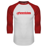 White/Red Raglan Baseball T Shirt-BonnaVilla