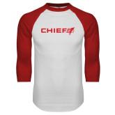 White/Red Raglan Baseball T Shirt-Chief - Primary Logo