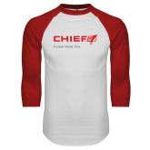 White/Red Raglan Baseball T Shirt-Chief - Primary Mark Tagline
