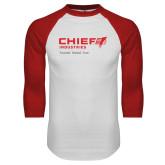 White/Red Raglan Baseball T Shirt-Chief Industries - Tag Line