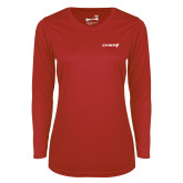 Ladies Syntrel Performance Red Longsleeve Shirt-Chief - Primary Logo