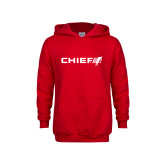 Youth Red Fleece Hoodie-Chief - Primary Logo
