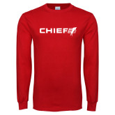 Red Long Sleeve T Shirt-Chief - Primary Logo