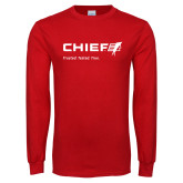 Red Long Sleeve T Shirt-Chief - Primary Mark Tagline