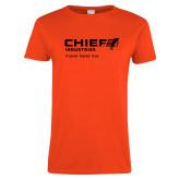 Ladies Orange T Shirt-Chief Industries - Tag Line