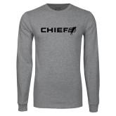 Grey Long Sleeve T Shirt-Chief - Primary Logo