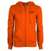 ENZA Ladies Orange Fleece Full Zip Hoodie-Chief Industries