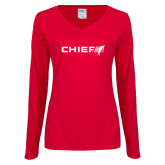 Ladies Red Long Sleeve V Neck Tee-Chief - Primary Logo