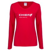 Ladies Red Long Sleeve V Neck Tee-Chief - Primary Mark Tagline