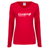 Ladies Red Long Sleeve V Neck Tee-Chief Industries