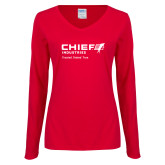 Ladies Red Long Sleeve V Neck Tee-Chief Industries - Tag Line