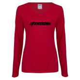 Ladies Cardinal Long Sleeve V Neck Tee-BonnaVilla