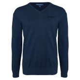 Classic Mens V Neck Navy Sweater-BonnaVilla