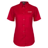 Ladies Red Twill Button Up Short Sleeve-Chief - Primary Logo