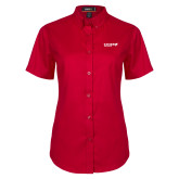 Ladies Red Twill Button Up Short Sleeve-Chief Industries