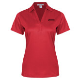 Ladies Red Performance Fine Jacquard Polo-BonnaVilla