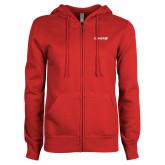 ENZA Ladies Red Fleece Full Zip Hoodie-Chief - Primary Logo