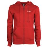 ENZA Ladies Red Fleece Full Zip Hoodie-Chief Industries