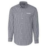 Cutter & Buck Charcoal Stretch Gingham Long Sleeve Shirt-Chief - Primary Logo